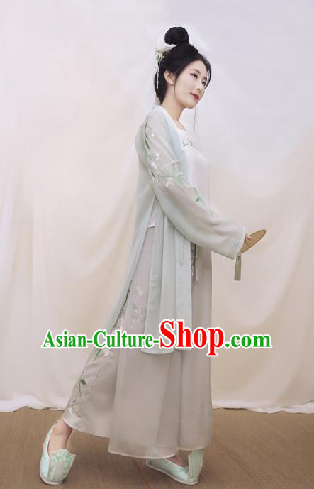 Traditional Ancient Chinese Young Lady Embroidered Costume BeiZi and Pants, Asian China Song Dynasty Princess Hanfu Clothing for Women