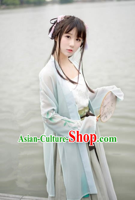 Traditional Chinese Song Dynasty Palace Lady Hanfu Costume Light Green BeiZi, Asian China Ancient Princess Dress Embroidered Clothing for Women