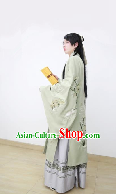 Traditional Chinese Han Dynasty Scholar Hanfu Costume, Asian China Ancient Embroidered Green Cloak Clothing for Men