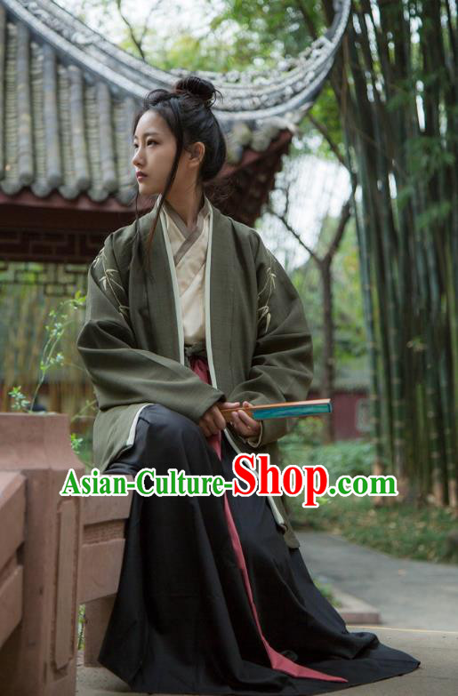 Traditional Ancient Chinese Swordsman Hanfu Costume Green Embroidered BeiZi, Asian China Song Dynasty Imperial Bodyguard Clothing for Men