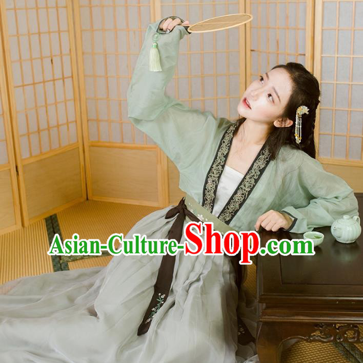 Traditional Chinese Tang Dynasty Palace Lady Hanfu Costume Blouse and Skirt, Asian China Ancient Princess Clothing for Women