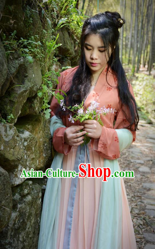 Traditional Ancient Chinese Young Lady Hanfu Costume, Asian China Tang Dynasty Imperial Princess Embroidered Clothing for Women
