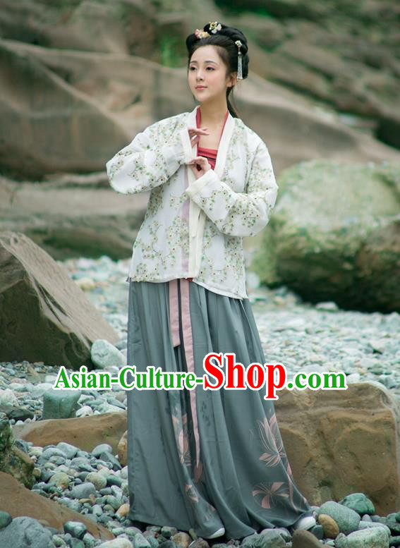 Traditional Chinese Song Dynasty Imperial Princess Hanfu Costume, Asian China Ancient Embroidered Blouse and Pants Clothing for Women