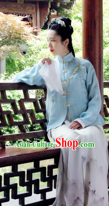 Traditional Chinese Ancient Costume Palace Lady Embroidered Blue Blouse and Skirt, Asian China Ming Dynasty Princess Hanfu Dress Clothing for Women
