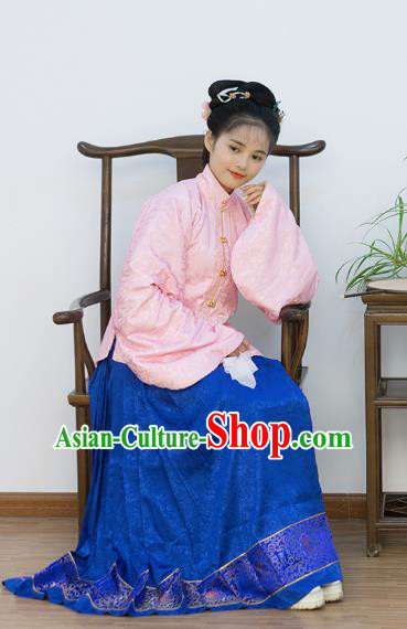 Traditional Chinese Ancient Costume Palace Lady Embroidered Pink Blouse and Skirt, Asian China Ming Dynasty Princess Hanfu Dress Clothing for Women