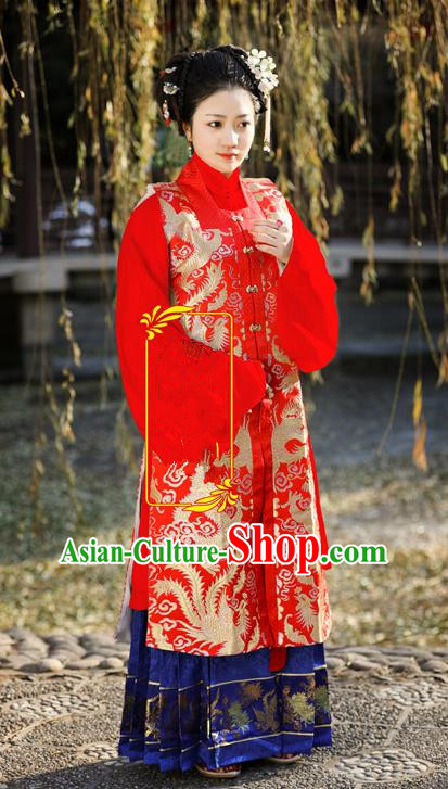 Traditional Chinese Ancient Costume Imperial Concubine Embroidered Red Vest Blouse and Skirt, Asian China Ming Dynasty Palace Lady Clothing for Women