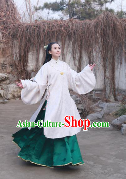 Traditional Chinese Ancient Costume Palace Lady Embroidered White Blouse and Slip Skirt, Asian China Ming Dynasty Princess Hanfu Clothing for Women