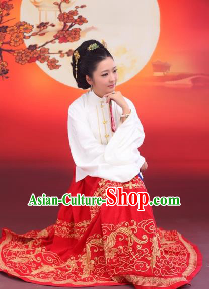 Traditional Chinese Ancient Costume Princess Embroidered Blouse and Red Skirt Complete Set, Asian China Ming Dynasty Hanfu Clothing for Women