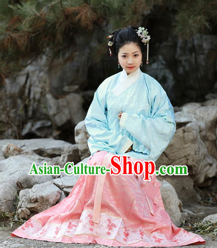 Traditional Chinese Ancient Costume Princess Blouse and Pink Skirt, Asian China Ming Dynasty Palace Lady Hanfu Clothing for Women
