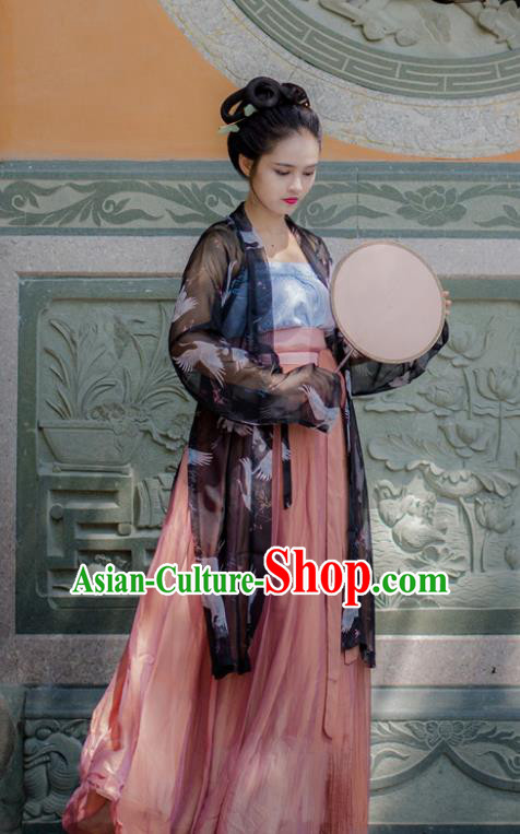 Traditional Chinese Ancient Costume Princess Black Silk Blouse and Skirt, Asian China Song Dynasty Palace Lady Hanfu Clothing for Women