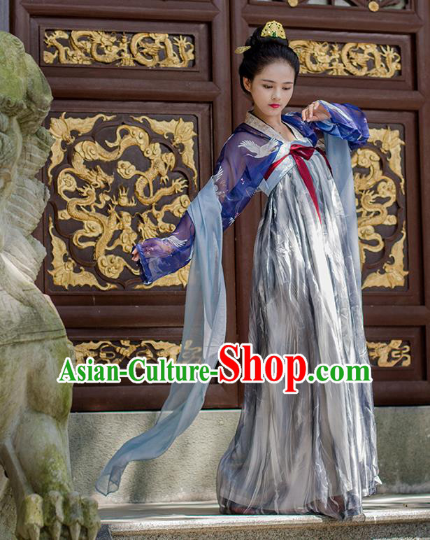 Traditional Chinese Ancient Costume Princess Silk Slip Skirt, Asian China Tang Dynasty Palace Lady Hanfu Dress Clothing for Women