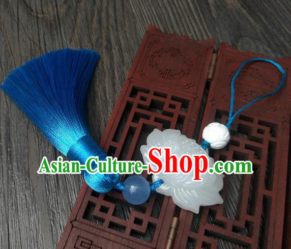 Traditional Handmade Chinese Ancient Classical Hanfu Accessories Blue Tassel Jade Lotus Pendant Brooch for Women