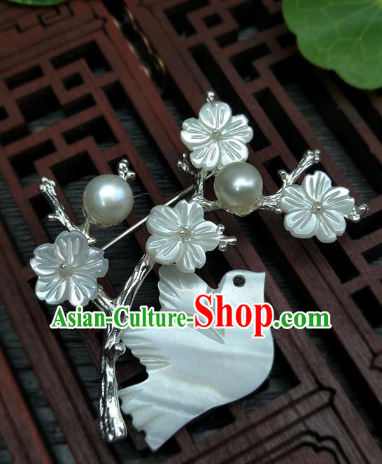 Traditional Handmade Chinese Ancient Classical Hanfu Birds Breastpin Brooch for Women