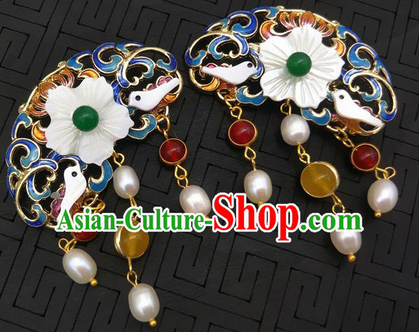 Traditional Handmade Chinese Ancient Classical Hanfu Brooch Accessories Blueing Breastpin for Women