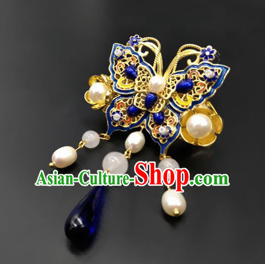 Traditional Handmade Chinese Ancient Classical Hanfu Blueing Butterfly Breastpin Brooch for Women