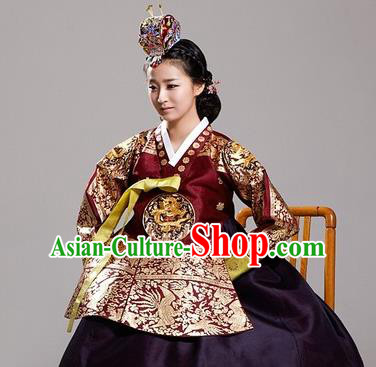 Traditional Korean Costumes Bride Wedding Clothing Complete Set, Korea Hanbok Queen Court Embroidered Clothing for Women
