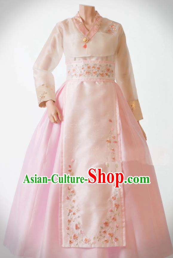 Traditional Korean Costumes Bride Wedding Pink Silk Dress, Korea Hanbok Princess Court Embroidered Clothing for Women