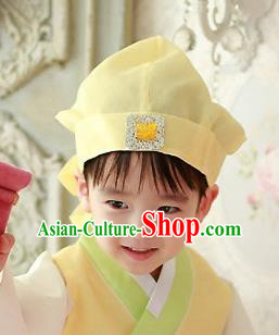 Traditional Korean Hair Accessories Yellow Baby Hats, Asian Korean Fashion National Boys Headwear for Kids