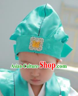 Traditional Korean Hair Accessories Green Baby Hats, Asian Korean Fashion National Boys Headwear for Kids