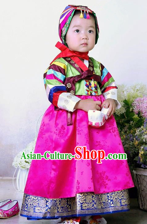 Traditional Korean Handmade Formal Occasions Embroidered Baby Princess Hanbok Rosy Dress Clothing for Girls