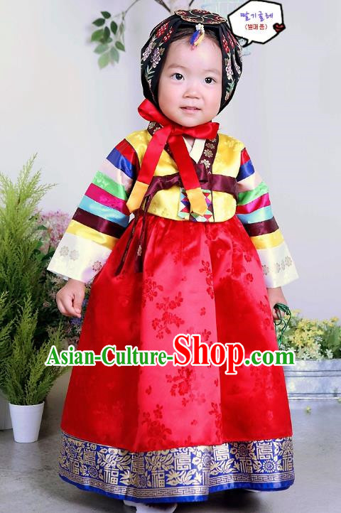 Traditional Korean Handmade Formal Occasions Embroidered Baby Brithday Hanbok Red Dress Clothing for Girls