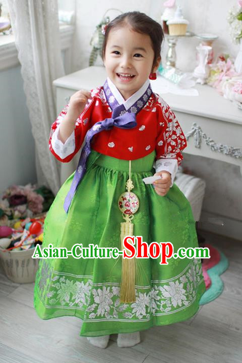 Traditional Korean Handmade Formal Occasions Embroidered Baby Brithday Hanbok Green Dress Clothing for Girls