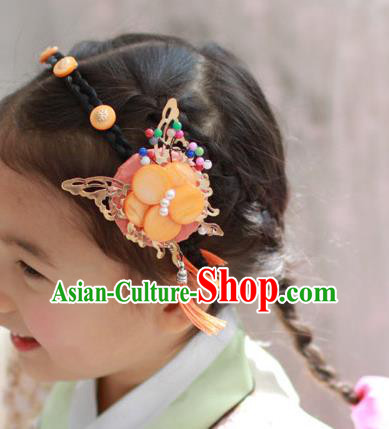 Traditional Korean Hair Accessories Butterfly Tassel Hair Clasp, Asian Korean Fashion Headwear Headband for Kids