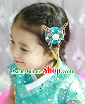 Traditional Korean Hair Accessories Green Butterfly Tassel Hair Clasp, Asian Korean Fashion Headwear Headband for Kids