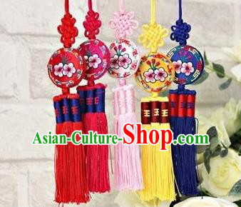 Traditional Korean Accessories Embroidered Round Waist Pendant, Asian Korean Fashion Wedding Tassel Waist Decorations for Women