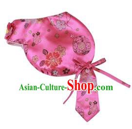 Traditional Korean Hair Accessories Bride Pink Brocade Hats, Asian Korean Fashion Wedding Headwear for Kids