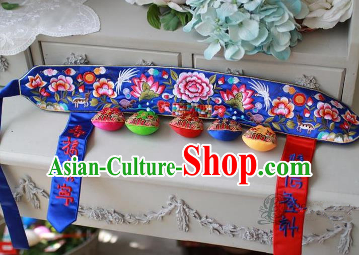 Traditional Korean Accessories Embroidered Blue Waist Belts, Asian Korean Fashion Wedding Tassel Waistband Decorations for Kids