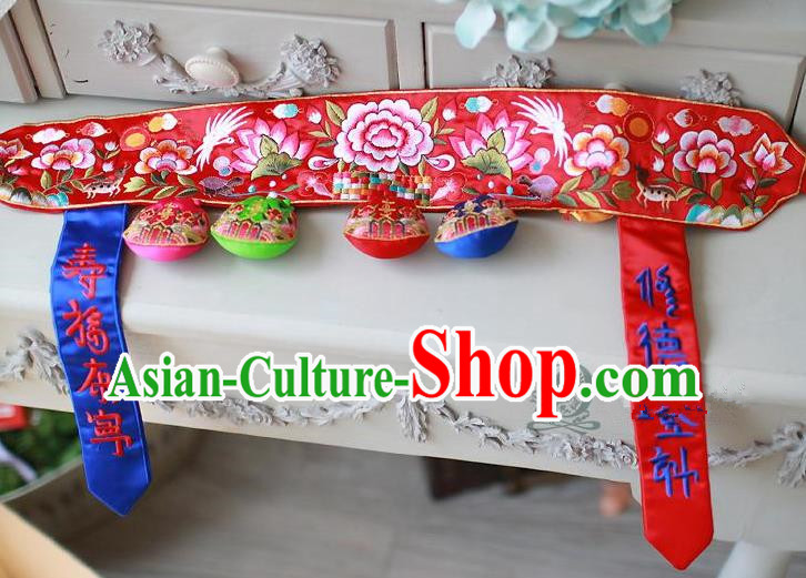 Traditional Korean Accessories Embroidered Red Waist Belts, Asian Korean Fashion Wedding Tassel Waistband Decorations for Kids