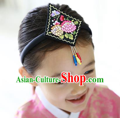 Traditional Korean Hair Accessories Embroidered Black Hair Clasp, Asian Korean Hanbok Fashion Headwear Headband for Kids