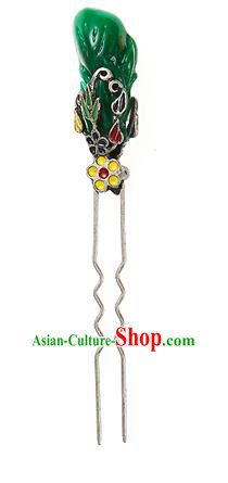 Traditional Korean Hair Accessories Girls Green Hairpins, Asian Korean Fashion Headwear Hair Stick for Kids