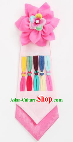 Traditional Korean Hair Accessories Girls Pink Flower Hair Ribbon, Asian Korean Fashion Headwear Headband for Kids