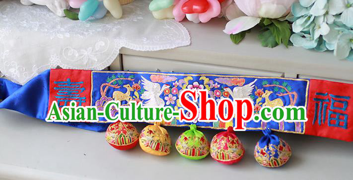 Traditional Korean National Accessories Embroidered Blue Waist Belts, Asian Korean Fashion Waistband Decorations for Kids