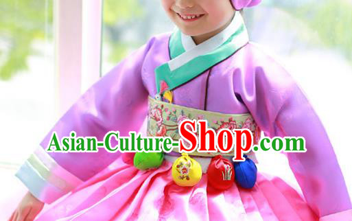 Traditional Korean National Accessories Embroidered Green Waist Belts, Asian Korean Fashion Waistband Decorations for Kids