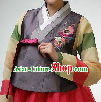 Asian Korean Traditional Handmade Formal Occasions Girls Costume Embroidered Grey Vests Hanbok Clothing for Kids