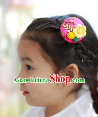 Traditional Korean National Hair Accessories Rosy Hairpins, Asian Korean Fashion Hanbok Hair Decorations Headwear for Kids