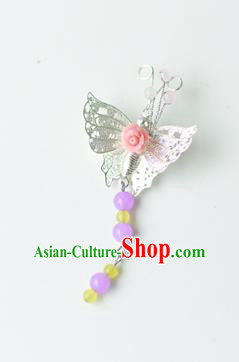 Traditional Korean National Accessories Royal Butterfly Brooch, Asian Korean Fashion Hanbok Breastpin for Girls