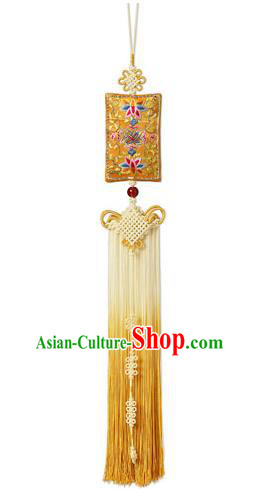 Traditional Korean Accessories Embroidered Waist Pendant, Asian Korean Fashion Wedding Yellow Tassel Waist Decorations for Women