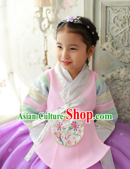 Traditional Korean National Handmade Formal Occasions Girls Hanbok Costume Embroidery Pink Blouse for Kids