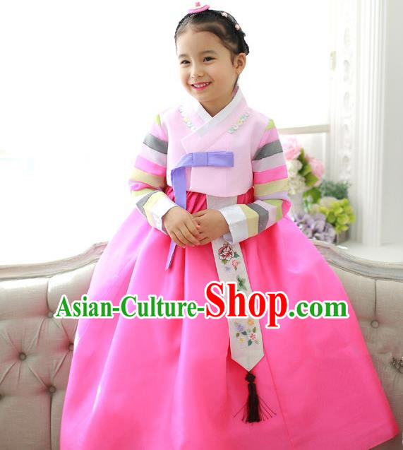 Traditional Korean National Handmade Formal Occasions Girls Hanbok Costume Embroidery Pink Blouse and Dress for Kids