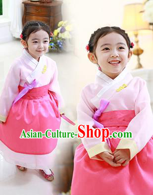 Traditional Korean National Handmade Formal Occasions Girls Hanbok Costume Embroidered Pink Blouse and Dress for Kids