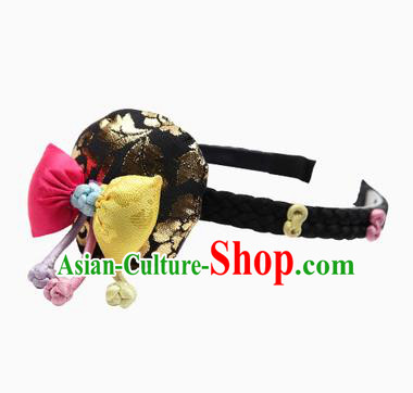 Traditional Korean Hair Accessories Black Hair Clasp, Asian Korean Hanbok Fashion Headwear Hanbok Headband for Kids