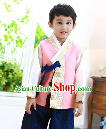 Asian Korean National Traditional Handmade Formal Occasions Boys Embroidery Pink Hanbok Costume Complete Set for Kids