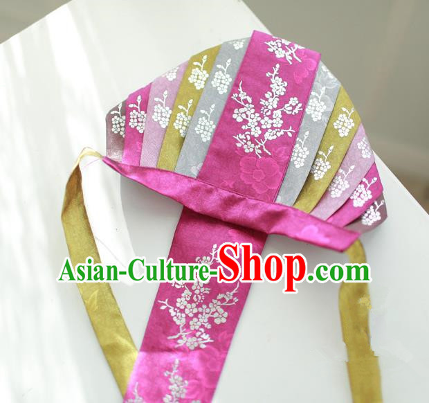 Traditional Korean Hair Accessories Bride Embroidered Purple Hats, Asian Korean Fashion Headwear for Girls