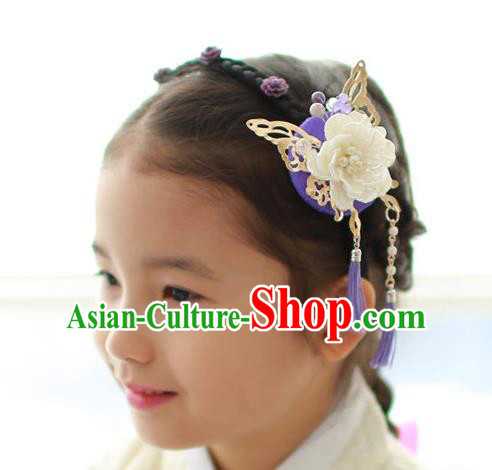 Traditional Korean Hair Accessories Butterfly Flowers Hair Clasp, Asian Korean Hanbok Fashion Headwear Headband for Kids
