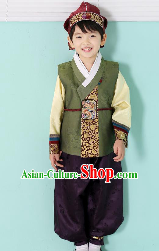 Asian Korean National Traditional Handmade Formal Occasions Boys Embroidery Green Hanbok Costume Complete Set for Kids