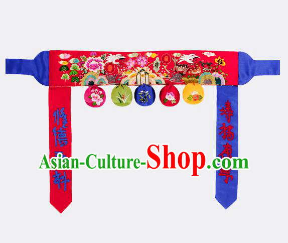 Traditional Korean Accessories Embroidered Flowers Red Waist Belts, Asian Korean Fashion Hanbok Waistband Decorations for Kids